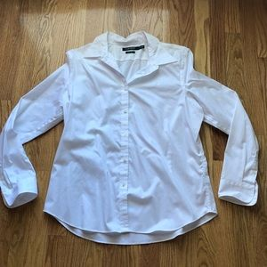 Classic white button front top